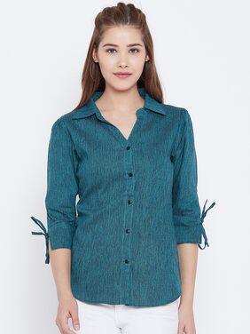 AASK Women Regular Fit Solid Shirt - Blue