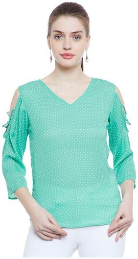 Aask Women's Green & White Dot Printed Georgette Top