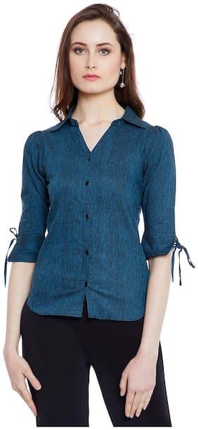 AASK Women Blue Printed Regular Fit Shirt