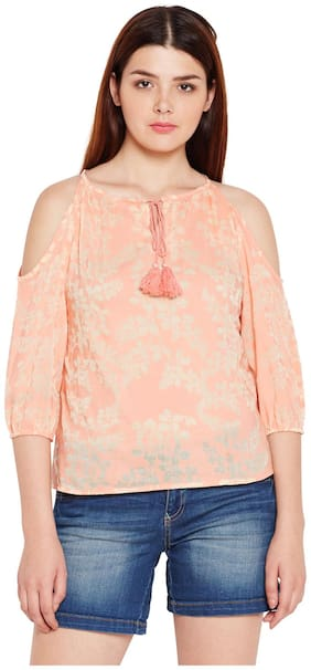 AASK Women's Peach and Multicolor Floral Printed Cotton Top