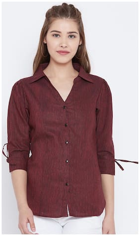 AASK Women Regular fit Solid Shirt - Maroon