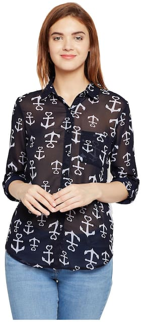 Aask Women's Navy Blue & White Color Anchor Printed Georgette Shirt