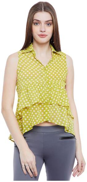 AASK Women Regular Fit Polka Dots Shirt - Yellow
