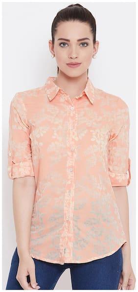 AASK Women Orange Floral Regular Fit Shirt