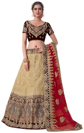 50f535b320e8bd Aasvaa Beige Color Valvet & Butter Silk Embroidered Semi-Stitched Lehenga  Choli (NRYQNA2844)