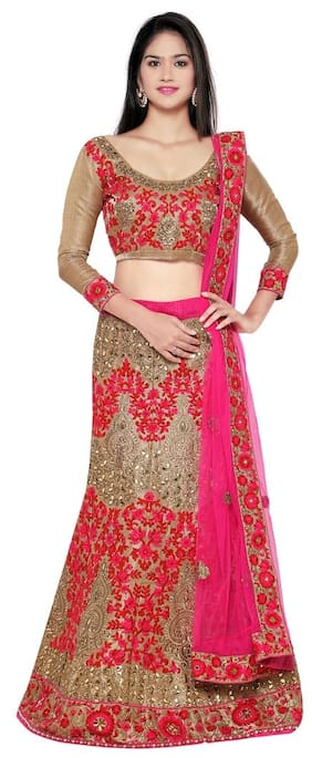Aasvaa Sterling Women's Embroidered Rai dana Lehenga Choli With Un-Stitched Blouse (NMBB108DP_Gold_Free Size)