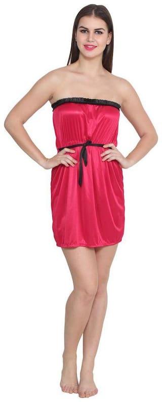 Abacada's Women satin Babydoll night dress Short Length Free Size RaniPink