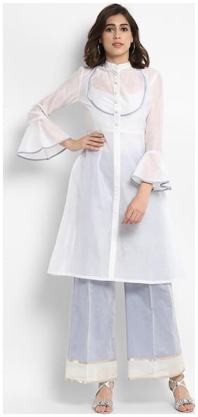 Abhishti Women Chambray Solid A line Kurta - White