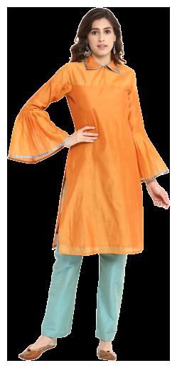 Abhishti Women Orange Solid Straight Kurta