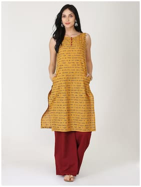 Abhishti Women Cotton Printed Straight Kurta - Mustard