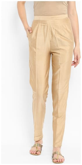 Abhishti Women Regular fit Mid rise Solid Regular pants - Gold