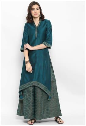 Abhishti Women Green Solid A-Line Kurta