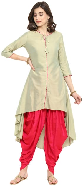 Abhishti Women Silk Solid Anarkali Kurta - Green