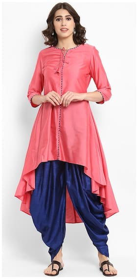 Abhishti Women Silk Solid Anarkali Kurta - Peach