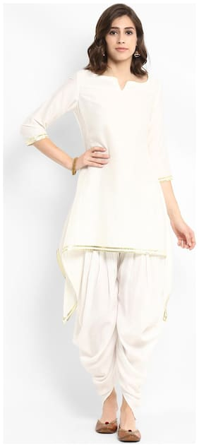 Abhishti Silk Solid Kurta with Dhoti - White