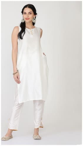 Abhishti Women Silk Solid Straight Kurta - White