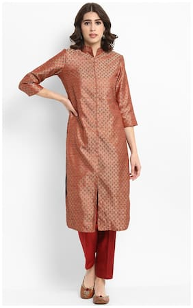 Abhishti Silk Printed Kurta With Pants - Red