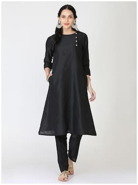 Abhishti Women Silk Solid Straight Kurta - Black