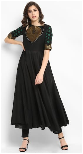 Abhishti Silk Printed Kurta With Pants - Black