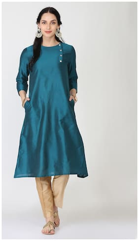 Abhishti Women Silk Solid Straight Kurta - Green
