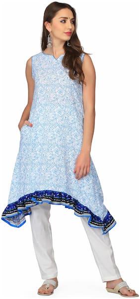 Abhishti Women Blue Printed A-Line Kurta