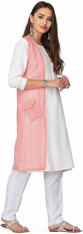 Abhishti Women Cotton Solid Straight Kurta - White