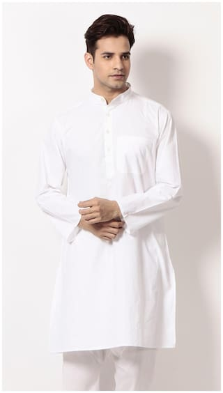 Abhiyuthan Men Regular Fit Cotton Full Sleeves Solid Kurta Pyjama - White