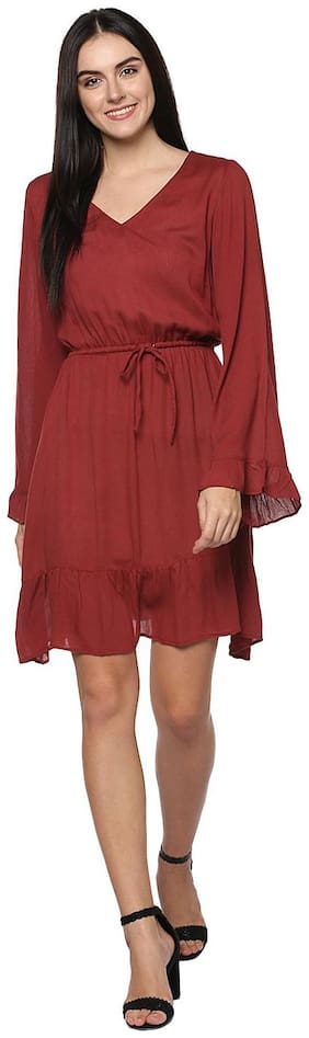 Abiti Bella Red Solid Fit & flare dress