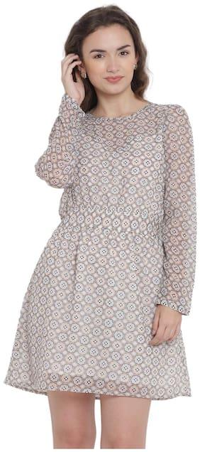 Abiti Bella Grey Printed Fit & flare dress
