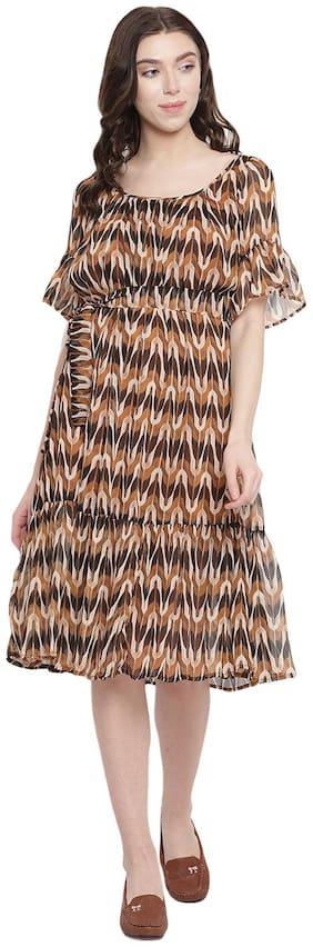 Abiti Bella Brown Printed Fit & flare dress