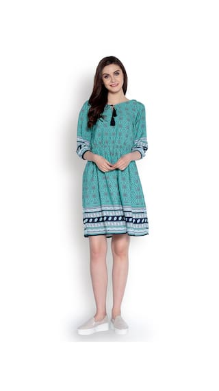 Women's Woven Printed Flare Fit Dress Abiti Green Border Bella and 45wcf