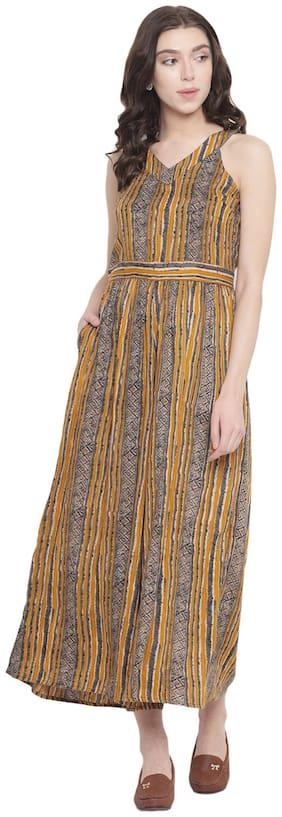 Abiti Bella Striped Jumpsuit - Yellow