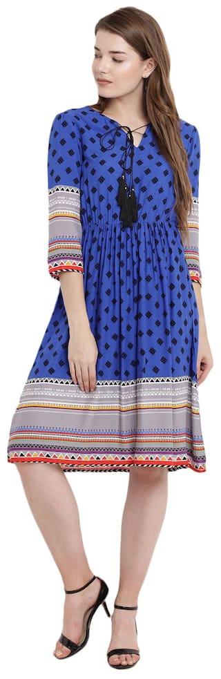 Abiti Bella Rayon Printed A-line Dress Blue