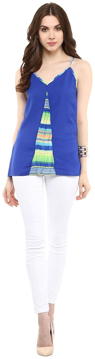 Abiti Bella Women Striped Regular top - Blue