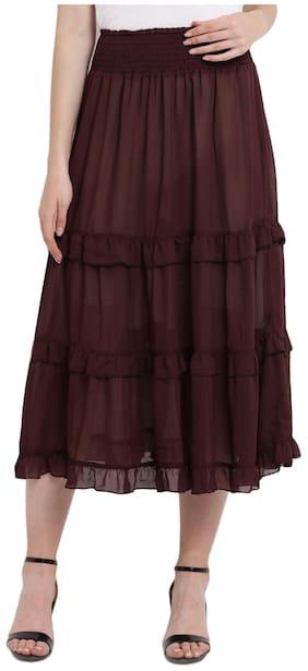 Abiti Bella Women's Wine Summer cool Long Skirt