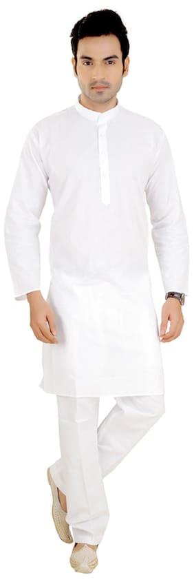 Abstract White Cotton Kurta Pyjama