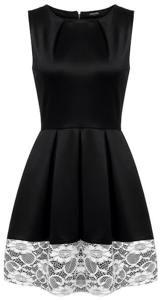 High Neck ACEVOG Lace Sleeveless A Women Waist line Pleated Casual hem Swing Dress Mini O rqRFnwRX