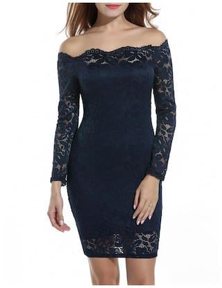 Mini Package Long Dress Off Dark Floral ACEVOG Blue Pencil Sleeve Dress Ladies Women Hip shoulder wpqFWzxAPY