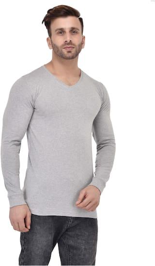 bfb98a541004 Buy ACOMHARC Men Regular Fit V Neck Solid T-Shirt - Blue Online at ...
