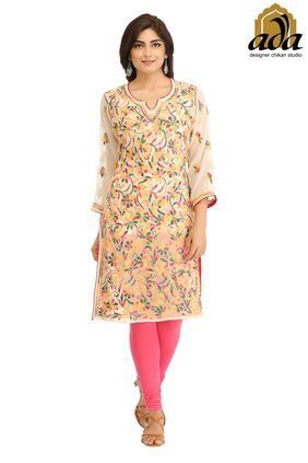 Ada Hand Embroidered Fawn Faux Georgette Lucknow Chikankari Kurti-A333033