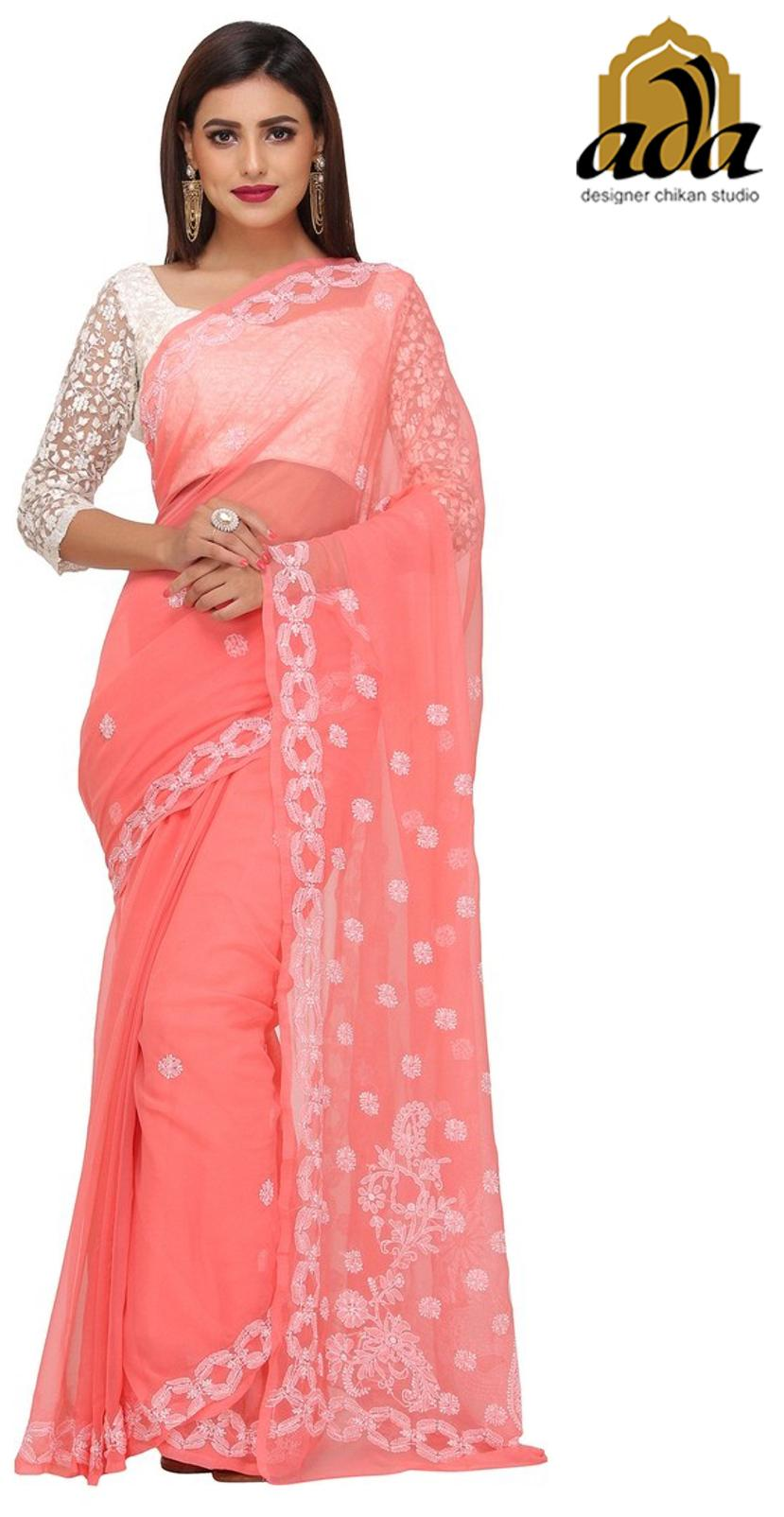 197fbbe99ab3c4 Buy Ada Lucknow Chikan Hand Embroidered Peach Faux Georgette Lucknowi  Chikankari Saree with Blouse - A191488 Online at Low Prices in India -  Paytmmall.com
