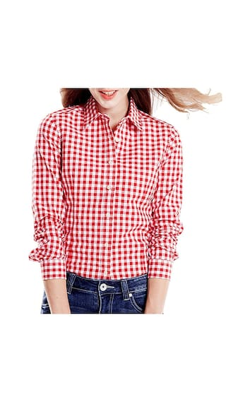 Adiba Red and White Casual Checkered Shirt for Women