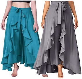 Adicap Turquoise & Grey Solid Wide Leg Palazzo