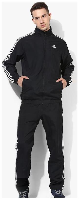 Adidas Men Black Solid Regular Fit Track Suit