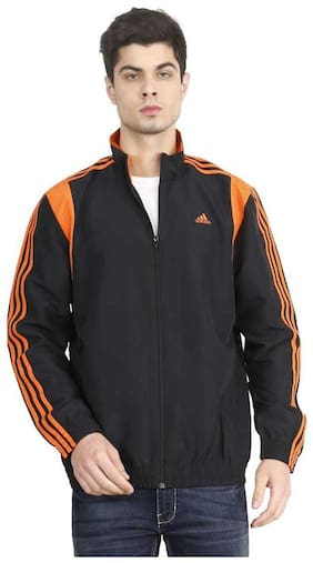 Adidas Men Polyester Jacket - Black & Orange