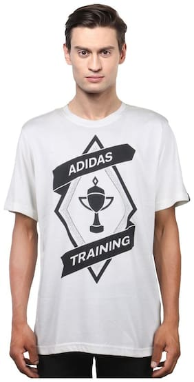 Adidas Men Round neck Sports T-Shirt - White