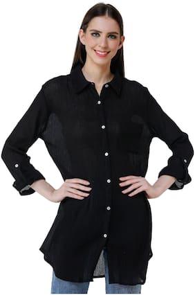 ADIRAV Women Black Solid Regular Fit Shirt