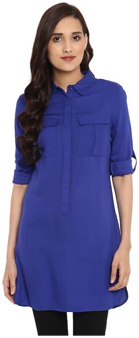Aditi Wasan Women Solid Regular tunic - Blue