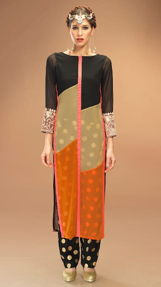 Admyrin Black Georgette Kurti With Pant