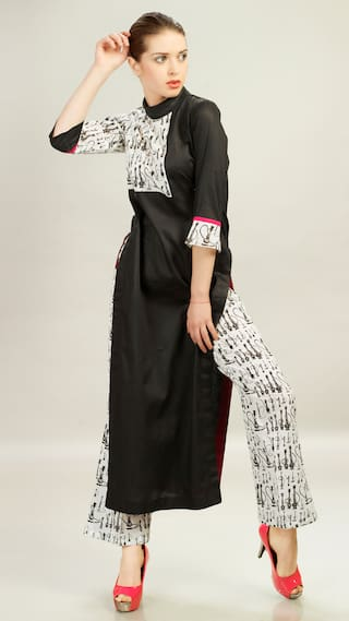 Admyrin Black Cotton Kurti With Pant